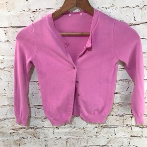 Pink V-Neck Button Up Cardigan Sweater
